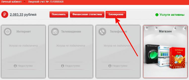 временная блокировка интернета через личный кабинет
