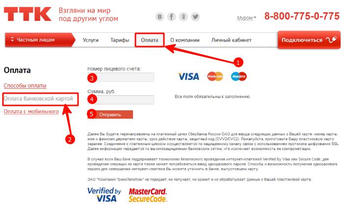 оплата в личном кабинете с помощью банковской карты